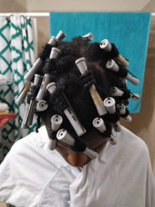 Rod set hair prep